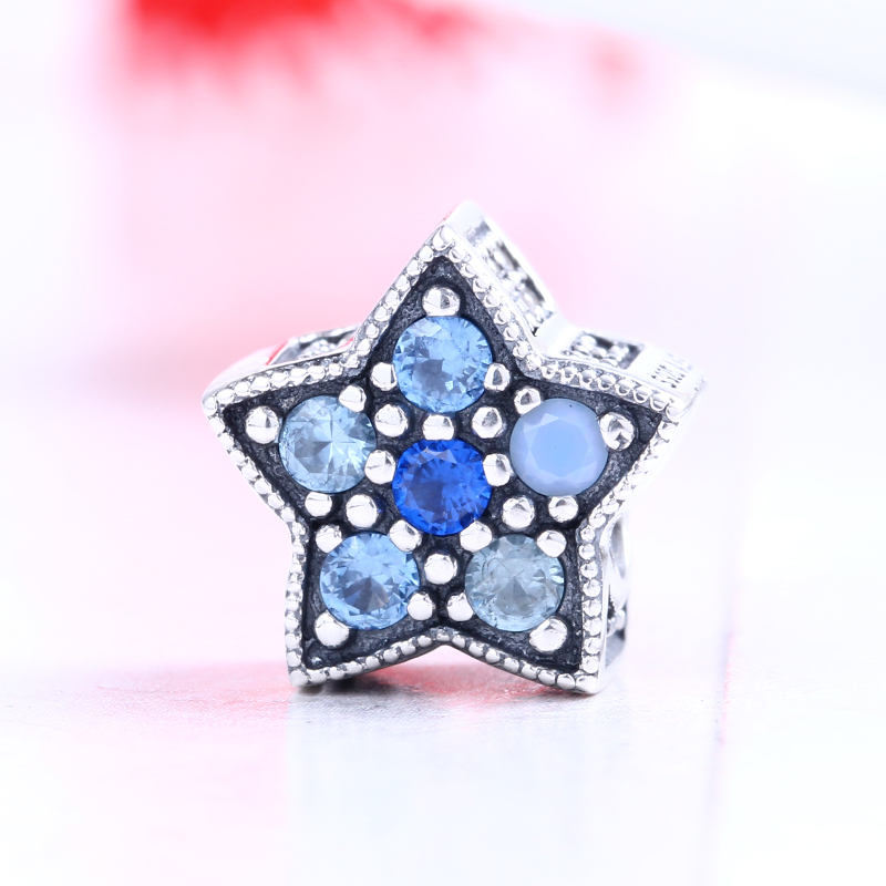 Winter 100% 925 Sterling Silver Fit Original Pandora Bracelet Bright Star Charm silver charms CZ Charm Beads for Jewelry Making