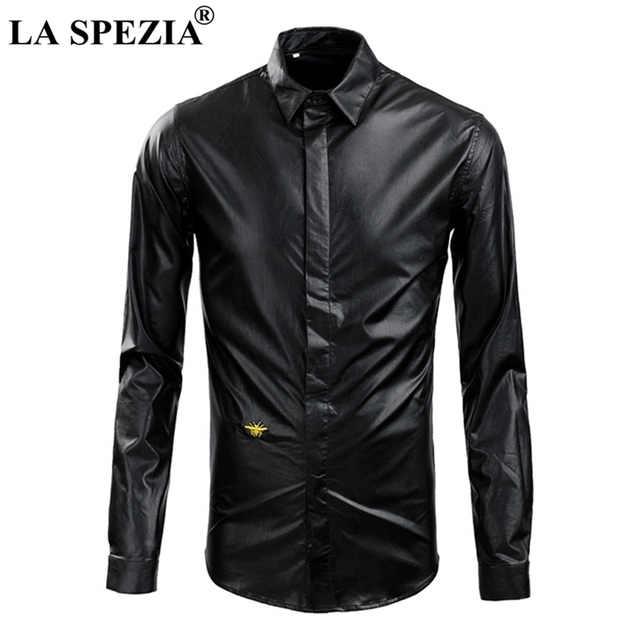LA SPEZIA Brand Black Shirt For Men Faux Leather Shirts Autumn Slim Fit Male Embroidery Bee Long Sleeve Biker Motorcycle Shirts