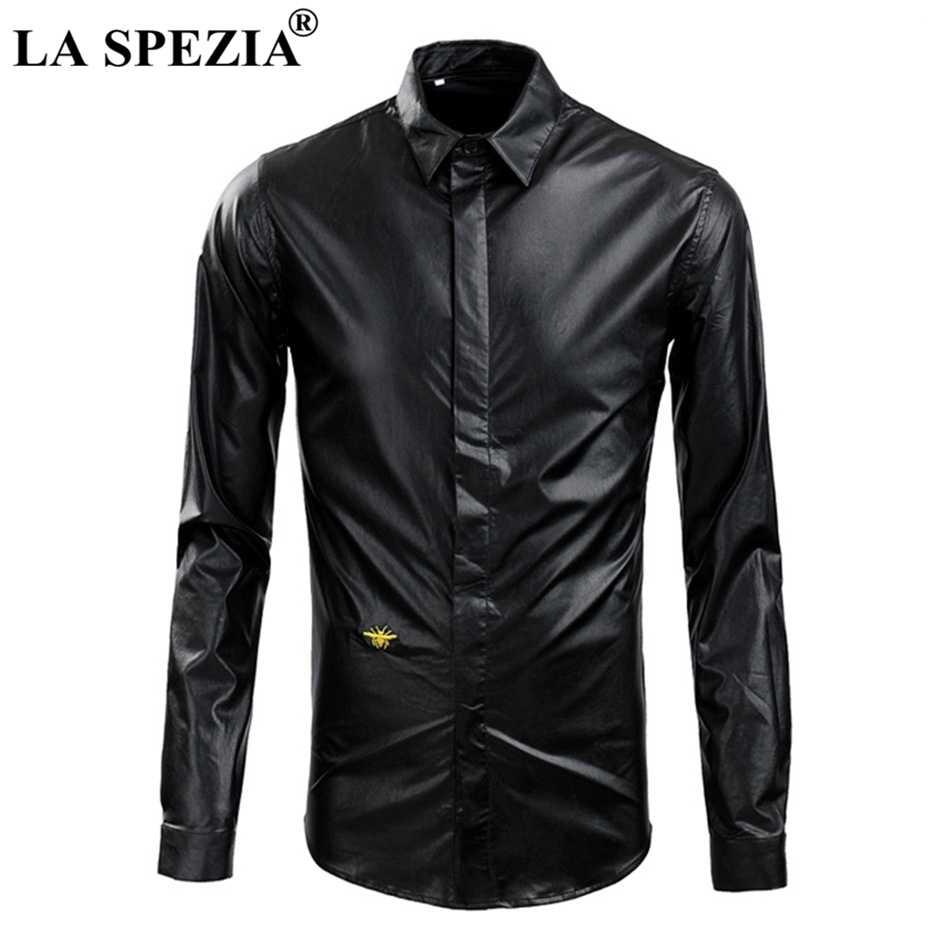 LA SPEZIA брендовая черная рубашка для Мужчины искусственная кожа рубашки Осень Slim Fit Мужская Вышивка пчела длинный рукав байкерские футболки для мотоциклистов
