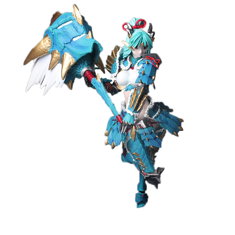 Japan Action Figure From Monster Hunter XX Game Zinogre Women Hunter set Model Collectible Anime Monster Figures Action Toy elf ball pikachu japan anime monster balls foldable shopping bag pencil case storage bags key chain comics figure model toy gift