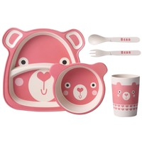 Infant Kids Feeding Dishes Tableware Set Children Bamboo Fiber Lunch Dinnerware Box With Compartment School