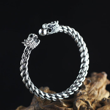 Solid 999 Sterling Silver Dragon Head Cuff Bracelet Bangle for Men Twisted Wire Vintage Punk Rock Male Thai Silver Jewelry Gifts