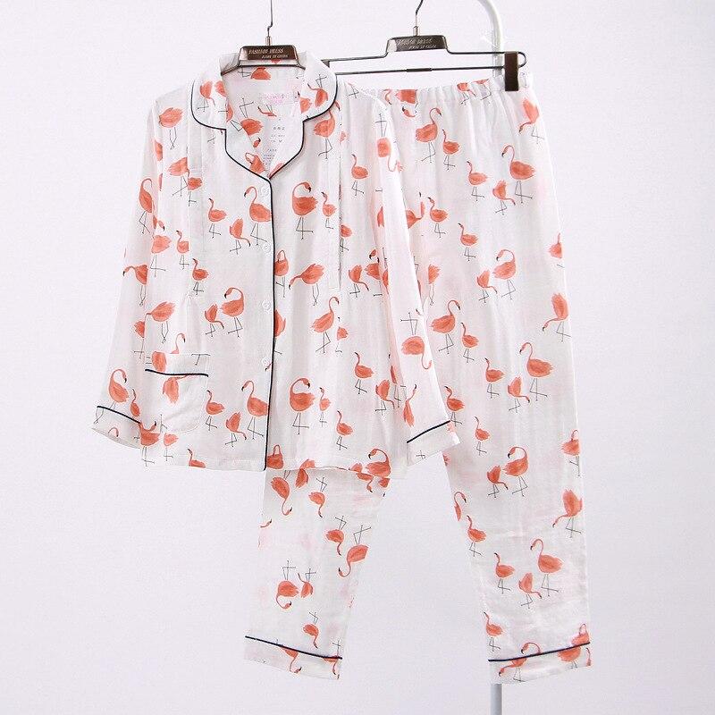 Spring Summer Autumn Nursing Cloth 2pcs Long Sleeve Tops Long Pants Lactation Clothes Three Layers Cotton Gauze Lactation Cloth