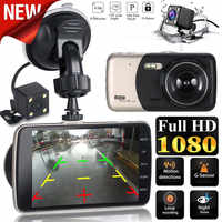 "Franchise 4 ""LCD IPS Dual Len Auto Dash Cam FHD 1080 P Dashboard Kamera 170 Fahren DVR 1080 P & 720 P unterstützung 32 GB TF karte 50Hz/60Hz"