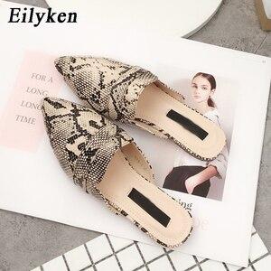 Image 3 - Eilyken Designers 2020 Spring/Autumn Sexy Leopard Flocked Slides Woman Flat Shoes Slip On Loafers Mules Flip Flops 35 42