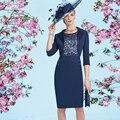 2017 Elegante Plus Size vestido de Noite Curto Mãe da Noiva Vestidos de renda com Jaqueta Mãe Dos Noivos Vestido de Madrinha ASAM2