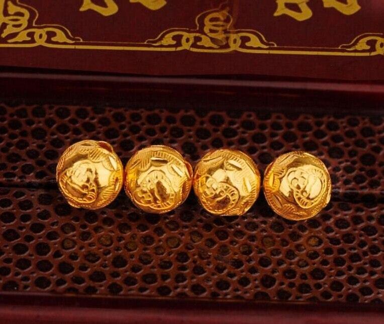 1PCS Authentic 24K Yellow Gold Pendant / 3D Craved Bless Bead Pendant цены онлайн