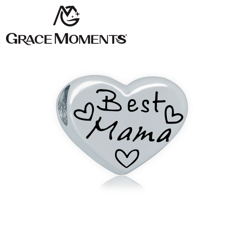 Grace Moments 5pcs 16*17mm Big Hole Heart Beads Steel Never Fade Family Message Charm Fits European Bracelet MUMMY DAUGHTER MAMA ...