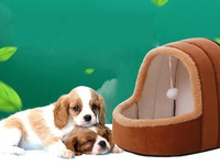 Hot Fleece Soft Pet Yurt Home Dog Bed Puppy Dog Kennel Pet Bed House For Dog Cat Small Animals Home Dog House With Mat
