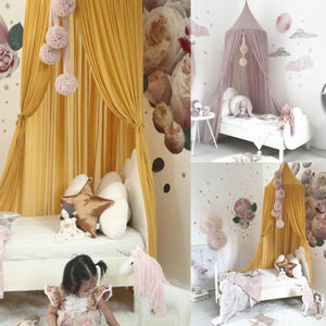 Limit 100 Hung Dome Lace Mosquito Net Bedcover Chiffon Bed Canopy Netting Double King Size Fly Insect Protection Mosquiton Net(China)