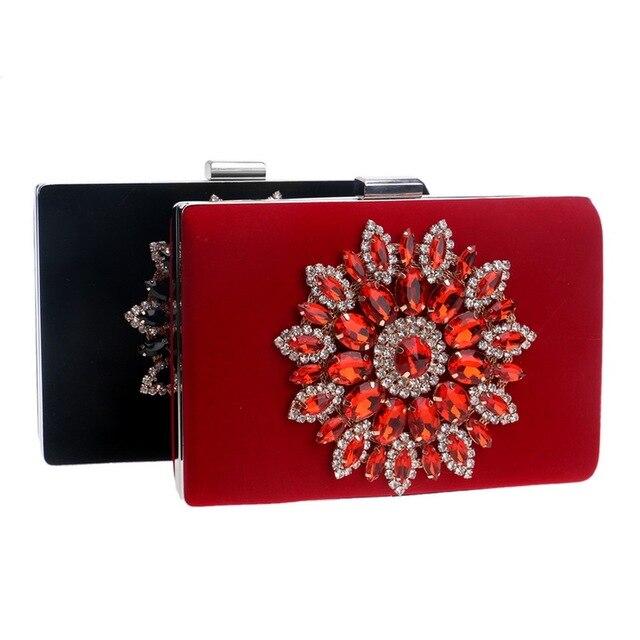 SEKUSA Flower Rhinestones Women Handbags Red Black Purple Gold Chain Shoulder Bags Metal Day Clutches Purse Wedding Wallets 4