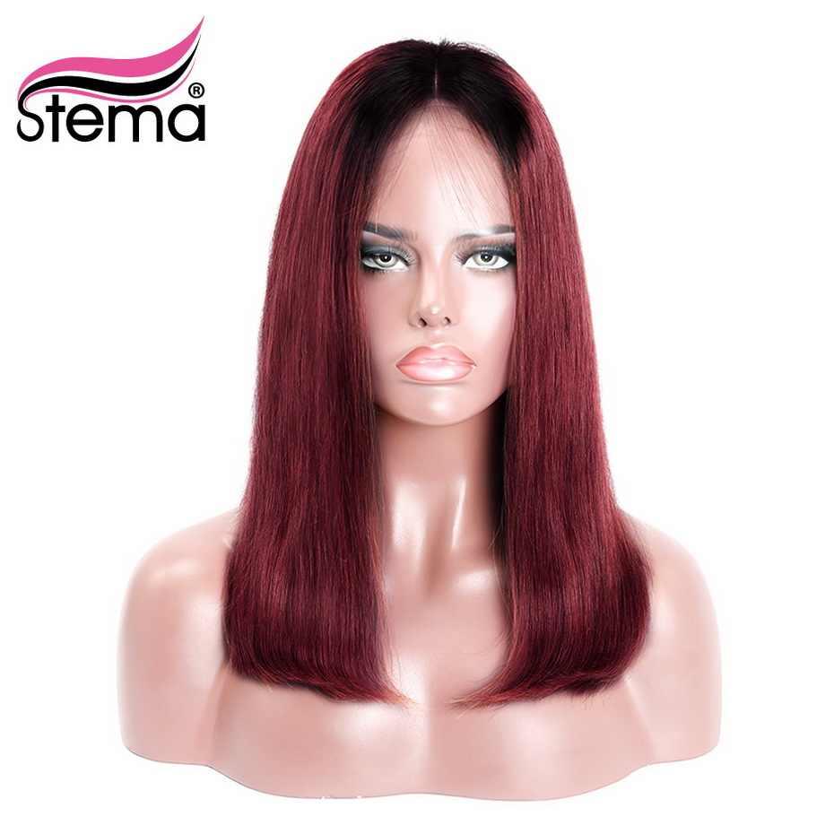 Stema Ombre 1B розовый/красный короткий парик с кружевом для черных женщин бразильские человеческие волосы remy Бесплатная доставка