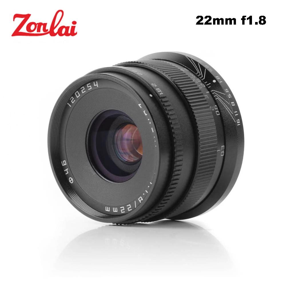 Zonlai 22mm F1.8 lente Manual principal para Sony e-mount para Fuji para Micro 4/3 a6300 a6500 X-A1 x-A2 X-M1 G1 G2 G3 Mirrorless Cámara