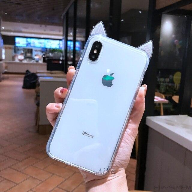 Diamond вокруг мягкий чехол для iPhone X XS MAX XR 10 6 6s 7 8 плюс милые с сияющими блестками кошачьими ушками Прозрачный силикон ТПУ крышка Dropproof