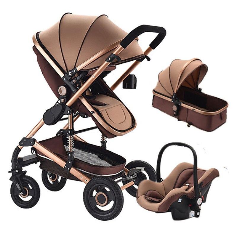 3 In1 bébé poussette haute paysage peut s'asseoir et mentir choc bébé poussette quatre roues poussette facile pliant panier