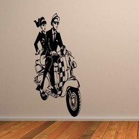 2 SIZES LARGE WALL STICKER SKA SCOOTER MURAL ART DECAL NEW VINYL TRANSFER WALL PAPER DIY