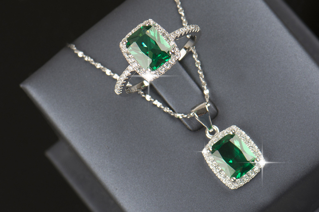 R&J 2016 New Brand 925 Sterling silver Jewelry sets Natural Crystal Ring Engagement Pendant Fashion Wedding Necklace For Women