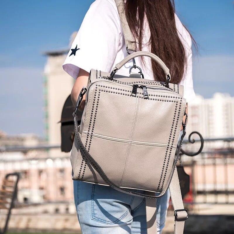 New Design Lady Rivet Backpack High Quality Teenager High Quality Leather Backpack Fit Teenage Girl Female