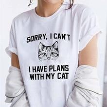 Cat Head Print T Shirt Women Short Sleeve O Neck Loose Tshirt 2019 Summer Women