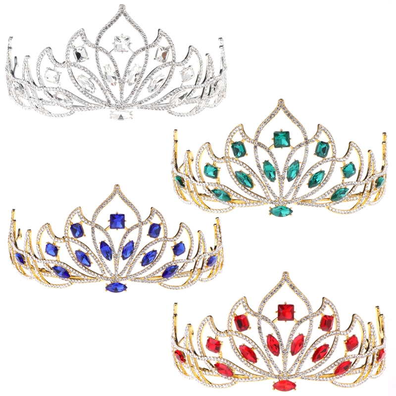 Bride Wedding Crown: Delicate Colorful Rhinestone Crown For Bride Wedding Tiara