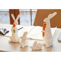 Nordic Modern Animal Cute Family Of Four Origami Rabbit Indoor Room Living Room TV Cabinet Decorations M1986