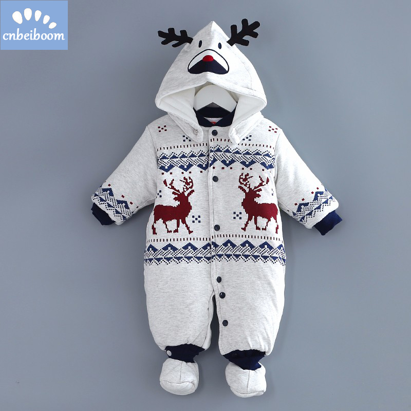 2018 New Baby Rompers Winter Thick Warm infant boy Clothing Long Sleeve romper Hooded Ju ...
