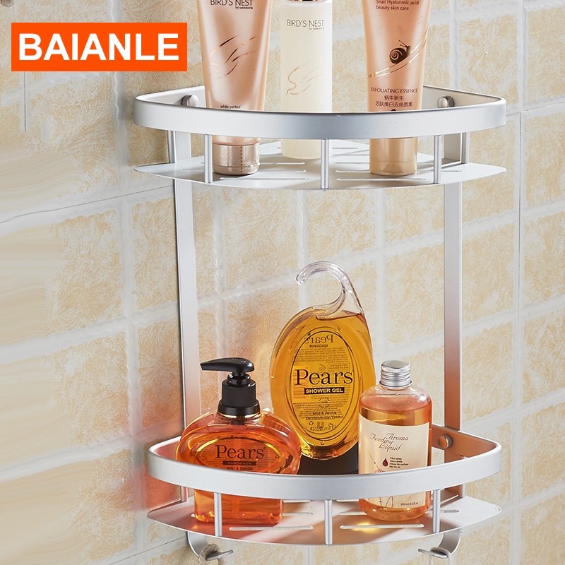 Free Shipping Wall Mounted Corner NEW Aluminum Thickening Bathroom Shower Shelf bathroom Accessories Basket Holder цена 2016