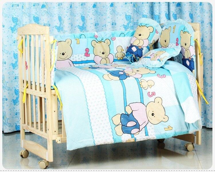 Promoción! 6 unids Bordado bebé Ropa de cama 100% algodón impreso