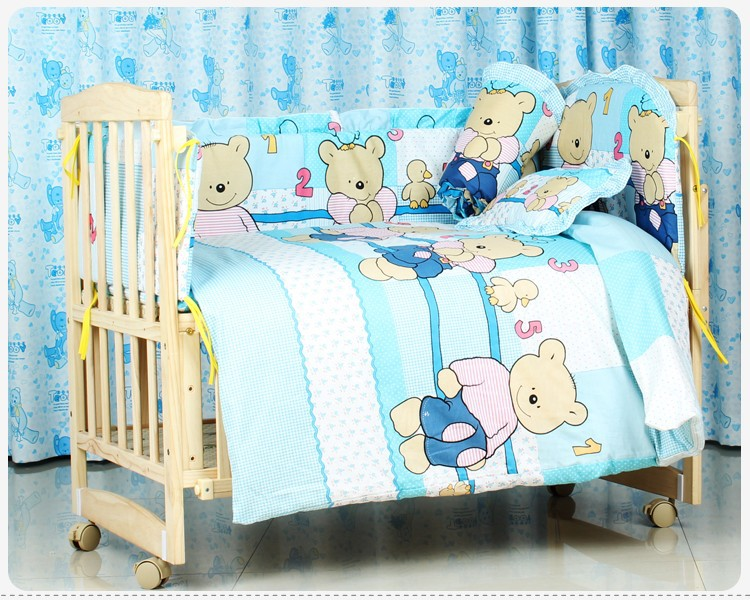 Promotion! 6PCS Embroidery Baby Girl Bedding 100%Cotton Printed Crib Bedding Set Cot Quilt,unpick(3bumpers+matress+pillow+duvet)