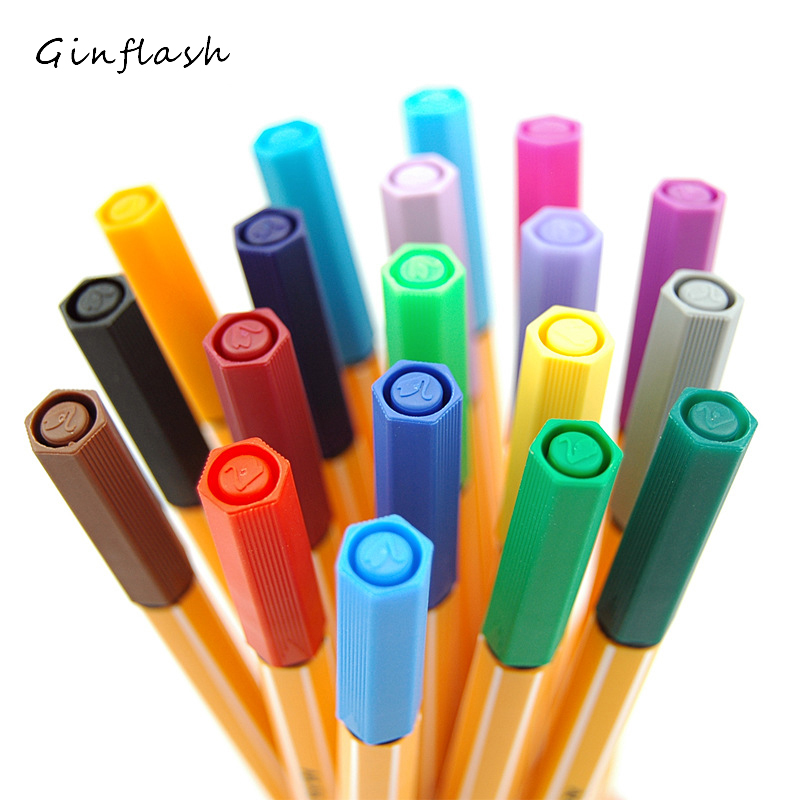 1pc Paint Brush Germany Sketch Pen Fibre Pen Stabilo Fiber Pen Drawing Needle Pen Single Pick For Designers 24colors DP009