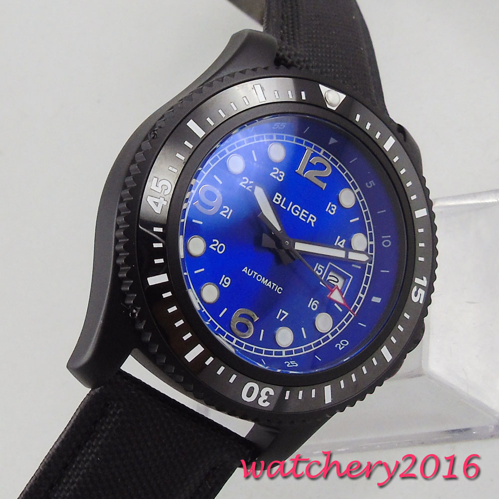NEW 44mm Bliger Blue Dial PVD Coated Rotating Black Ceramic Bezel Luminous Marks Luxury Brand Automatic Movement mens WatchNEW 44mm Bliger Blue Dial PVD Coated Rotating Black Ceramic Bezel Luminous Marks Luxury Brand Automatic Movement mens Watch