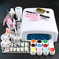 Professional Full Set 12 color UV Gel Kit Brush Nail Art Set + 36W Curing UV Lamp kit Dryer Curining Tools