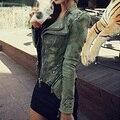 TFGS Women Denim Jacket Punk Style Rivet Studded Lapel Coat