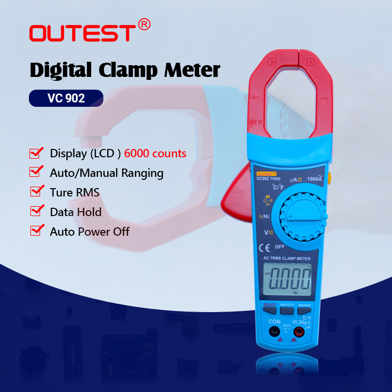 LCD Auto Range Digital Clamp Multimeter VC902 Multifunctional Voltmeter Ammeter Ohmmeter AC DC clamp Tester 6000 Counts digital voltmeter ammeter ohmmeter multimeter volt ac dc tester clamp meter y103