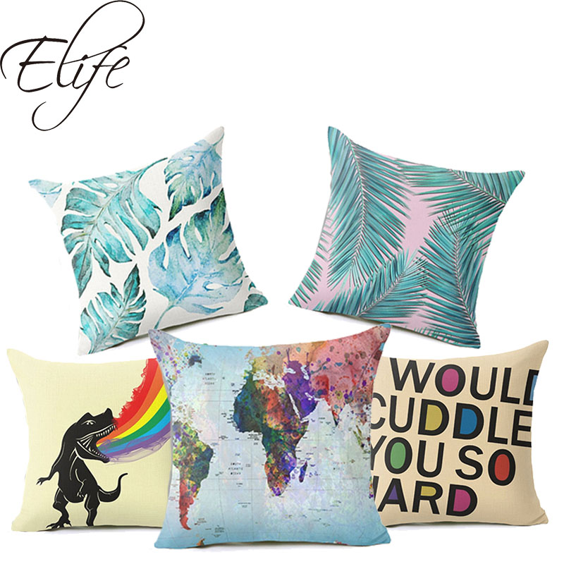 Elife Polyester Cotton Linen Leaves Cushion Cover Dinosaur