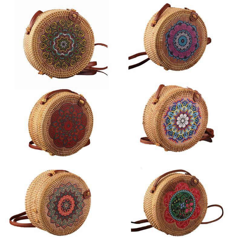 Vintage Round Handmade Rattan Crossbody Shoulder Bag Straw Handbag Clutch Purse for Women Girls Beach Party Supplies 2019