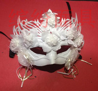 Antique Venice Masquerade Princess mask men and women feather with flower lace face glitter party mask