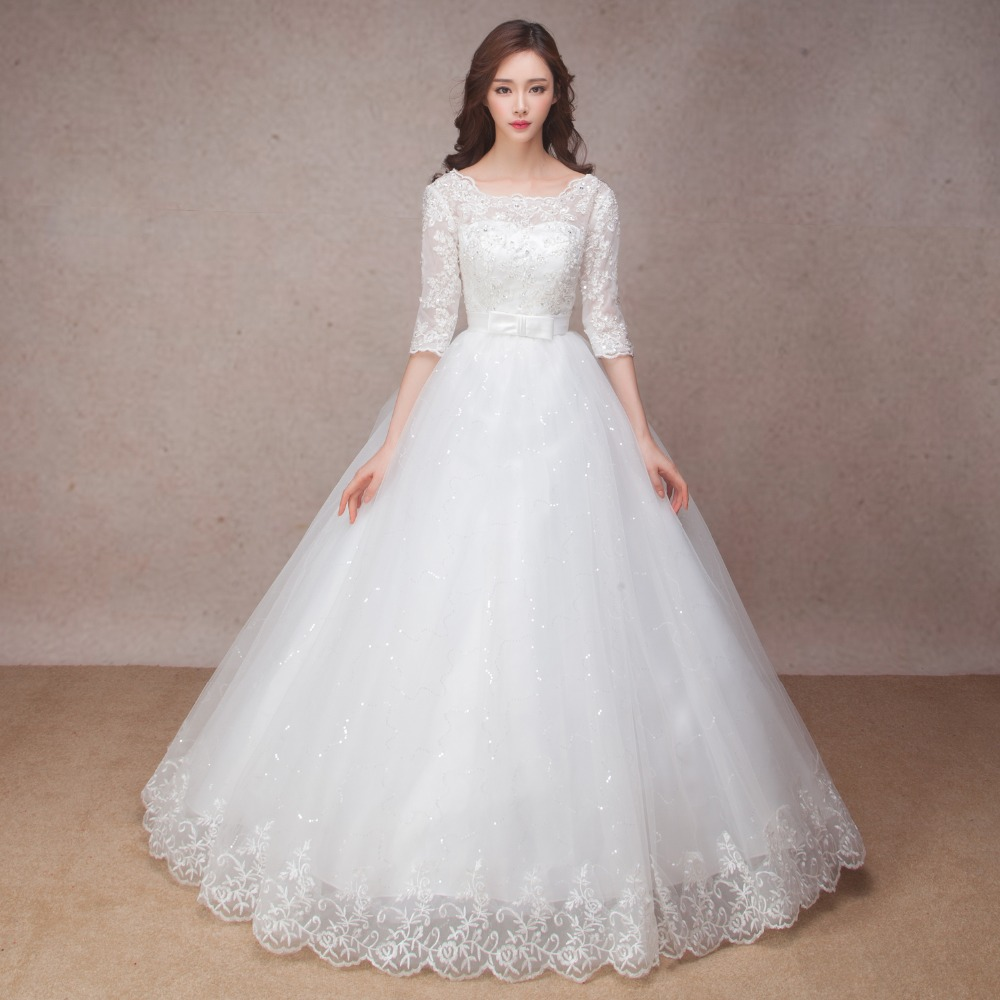 Wedding Gowns: Long Half Sleeve Muslim Lace Wedding Dress High Quality