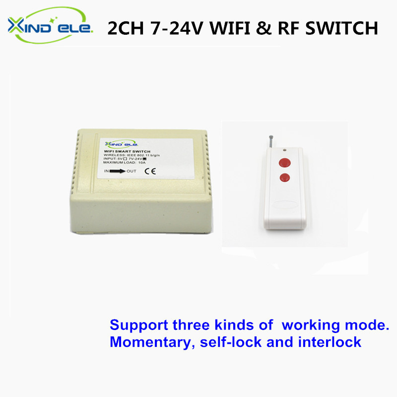 XIND ELE WiFi Light Switch 2CH 7V 9V 12V 24V DC 10A Smart Home 433mhz Remote RF Interruptor Wireless for Home xind ele crystal glass panel smart home touch light wall switch with remote controller interruptor de luz xdth03b blr 8