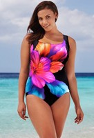 Swimsuits Of Large Sizes S 4XL Women S Floral Printed Blackless One Piece Swimsuit No Steel