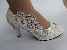 Lace Ballet Wedding Shoes, Handmade Wedding high heel,Shoes Crystals and Pearls, Wedding Shoe white lace flower flat heel wedding flats shoes woman bride bridal handmade plus size 41 42 43 beading pearls party shoe hs312
