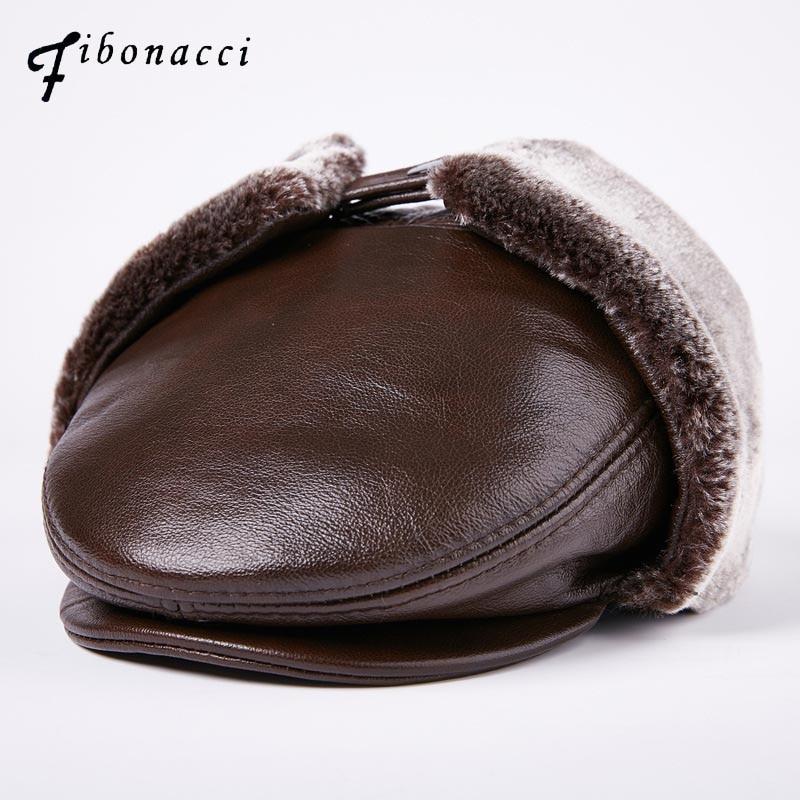 Fibonacci casquette gavroche homme cuir de vachette chapeau plat Protection oreille rabat noir chaud hiver papa chapeau