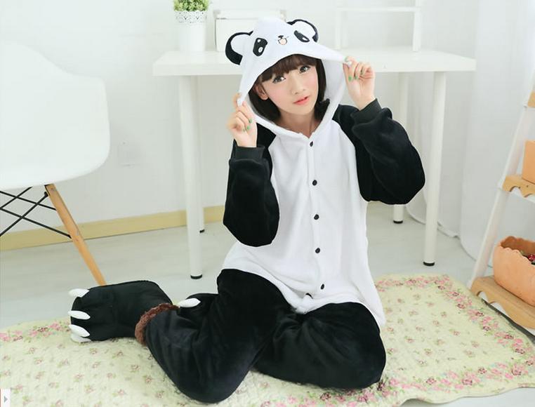 Animal Panda Cartoon Adult Female Women Men Cosplay Cos Pajamas Unisex Flannel All In One Onesie Halloween Costumes Gifts