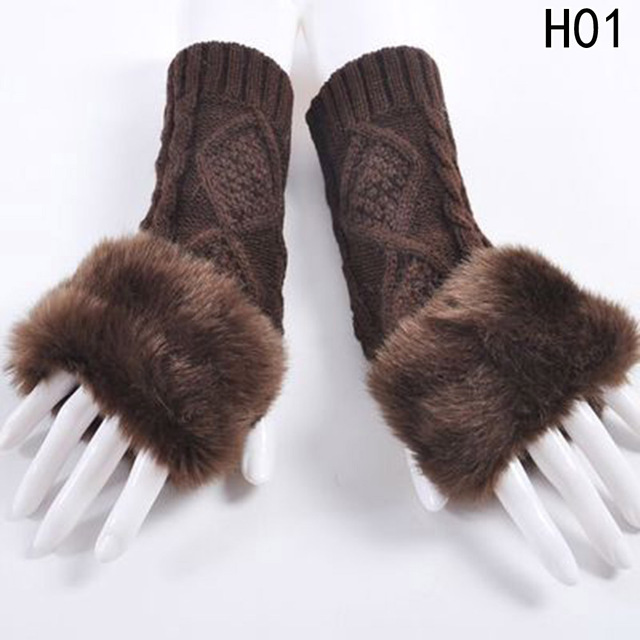 1Pair Women Faux Rabbit Fur...
