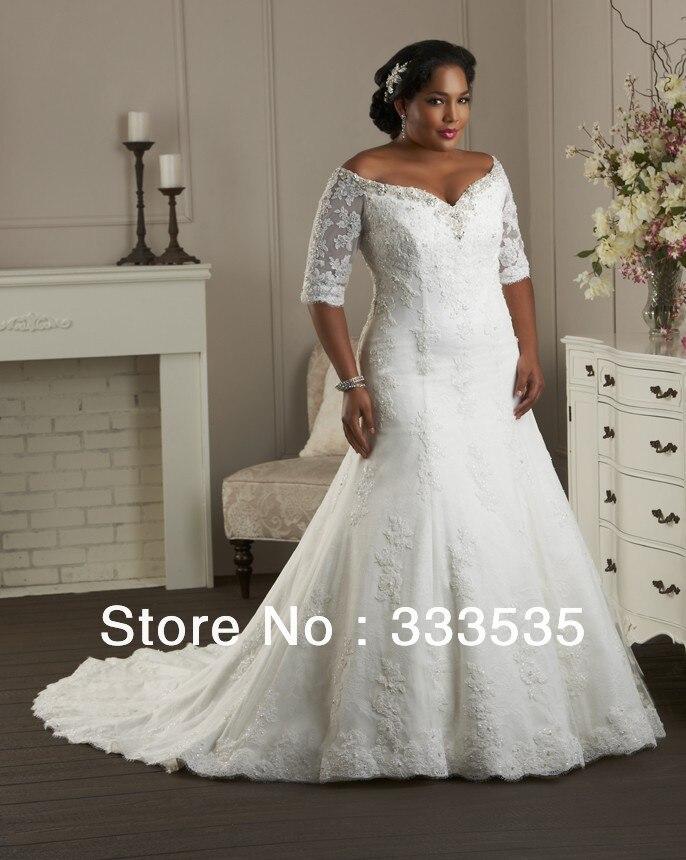 Free Shipping Plus Size Lace Long Train Trumpet V Neck Wedding Dress