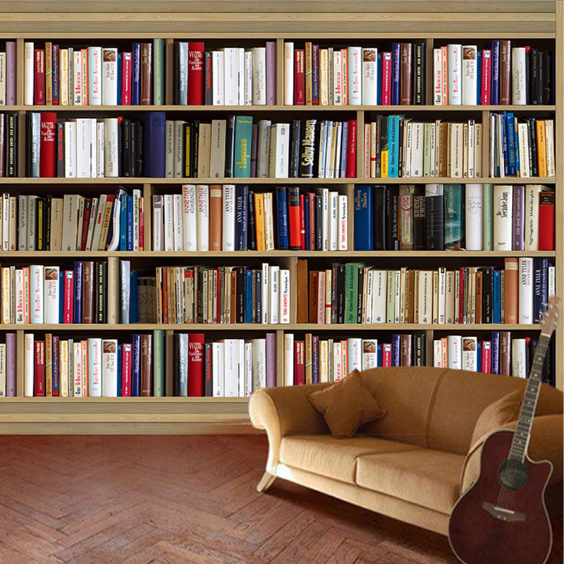 bookshelf background bookcase wall retro paper study bookshelves backdrop 3d living painting mural cozy wallpapers reading rooms shelves sofa papel