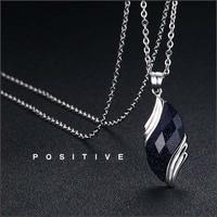 Custom Logo Letter Titanium Steel Chain Leaf Blue Sandstone Necklaces Couples Lover Fashion Trendy Purple Leaves