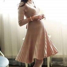 Nowa seksowna sukienka ciążowa dekolt w szpic do kolan ubrania ciążowe ubrania ciążowe 6MDS075