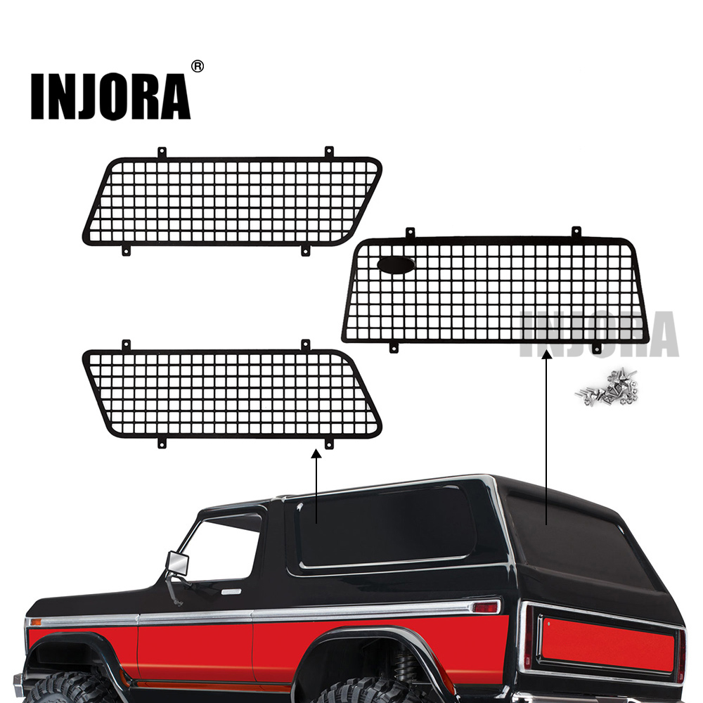 INJORA 3PCS Metal Window Mesh Protective Net With Logo For 1/10 RC Rock Car Traxxas TRX4 Bronco #82046-4