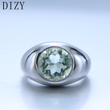 DIZY Natural Green Amethyst Ring Solid 925 Sterling Silver Round Cut Gemstone Ring for Women Engagement Jewelry Wedding Gift